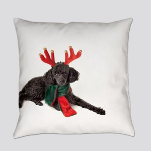 Black Christmas Poodle with Antler Everyday Pillow