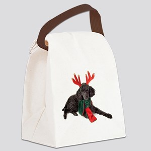 Black Christmas Poodle with Antle Canvas Lunch Bag