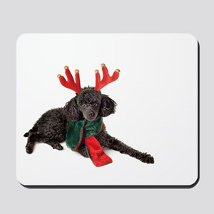 Black Christmas Poodle with Antlers and Mousepad