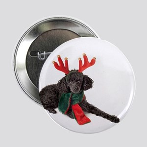 """Black Christmas Poodle with Antlers a 2.25"""" Button"""