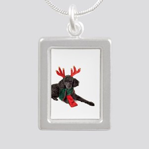 Black Christmas Poodle with Antlers and Necklaces