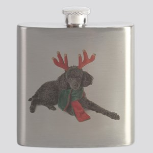 Black Christmas Poodle with Antlers and Red Flask