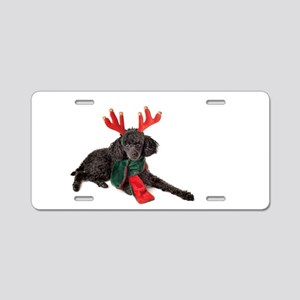 Black Christmas Poodle with Aluminum License Plate
