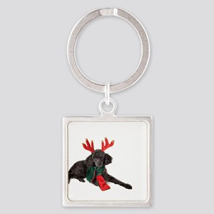 Black Christmas Poodle with Antlers and Keychains