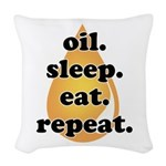 oil.sleep.eat.repeat Woven Throw Pillow