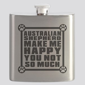 Australian Shepherd Dog Make Me Happy Flask