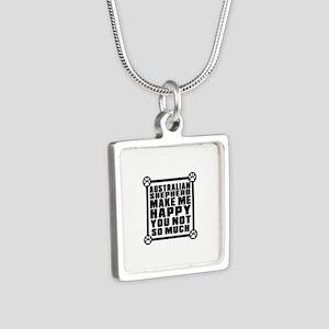 Australian Shepherd Dog Ma Silver Square Necklace