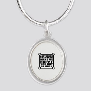 Australian Shepherd Dog Make Silver Oval Necklace