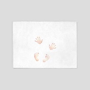 Cute Baby Hand and Feet Prints 5'x7'Area Rug