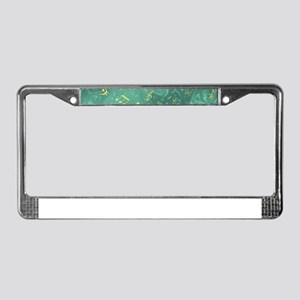 golden notes in petrol License Plate Frame