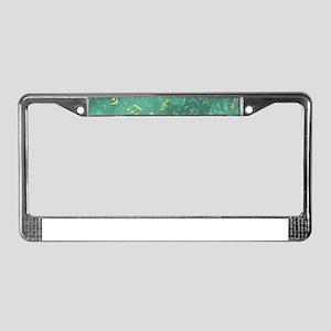 golden notes in petrol License Plate Frame