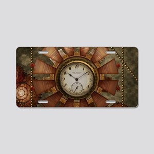 Steampunk with clocks and gears Aluminum License P