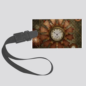 Steampunk with clocks and gears Luggage Tag