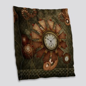 Steampunk with clocks and gears Burlap Throw Pillo