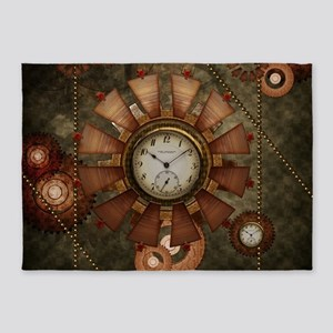 Steampunk with clocks and gears 5'x7'Area Rug