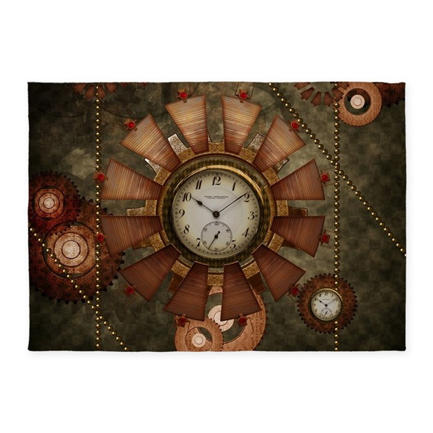 Steampunk With Clocks And Gears 5'x7'Area Rug By