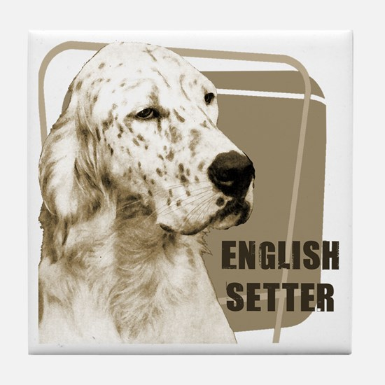 English Setter Vintage Tile Coaster
