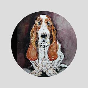 """Basset Hound Portrait 3.5"""" Button"""
