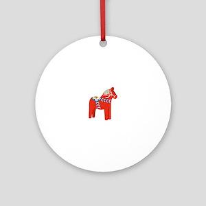 Swedish Dala Horse Round Ornament