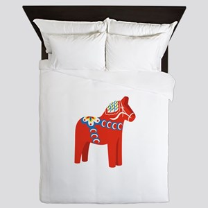 Swedish Dala Horse Queen Duvet