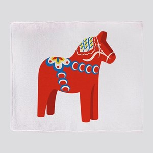Swedish Dala Horse Throw Blanket