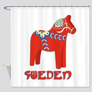 Sweden Dala Horse Shower Curtain