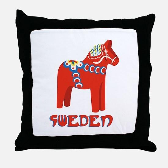 Sweden Dala Horse Throw Pillow