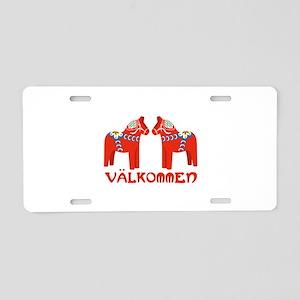 Swedish Horse Valkommen Aluminum License Plate