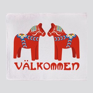 Swedish Horse Valkommen Throw Blanket