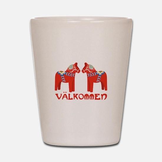 Swedish Horse Valkommen Shot Glass