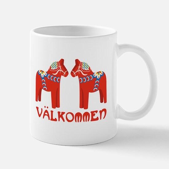 Swedish Horse Valkommen Mugs