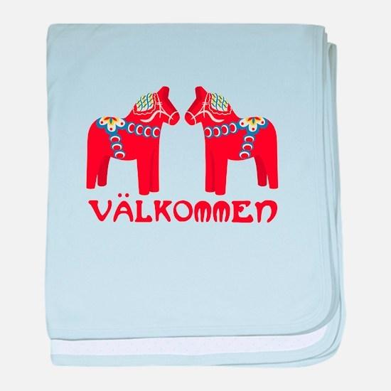 Swedish Horse Valkommen baby blanket