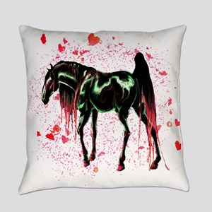 Pink Love Horse Everyday Pillow