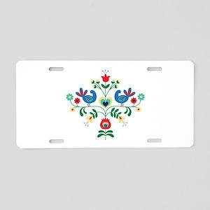 Bird Floral Border Aluminum License Plate