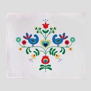 Bird Floral Border Throw Blanket