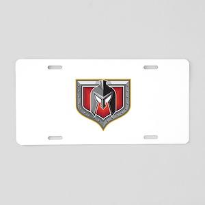 Spartan Helmet Shield Retro Aluminum License Plate