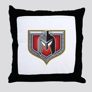 Spartan Helmet Shield Retro Throw Pillow