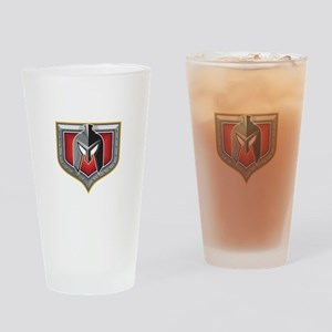 Spartan Helmet Shield Retro Drinking Glass