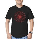 Men's Red 1 On Black Heptadecagram T-Shirt