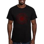 Men's Red 3 On Black Heptadecagram T-Shirt
