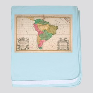 Vintage Map of South America (1691) baby blanket