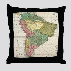 Vintage Map of South America (1691) Throw Pillow