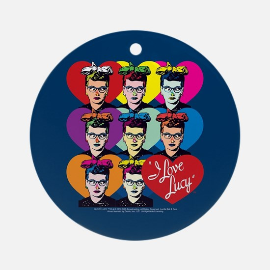 I Love Lucy: Headshot Hearts Round Ornament