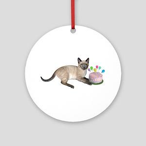 Siamese Kitten Cake Round Ornament