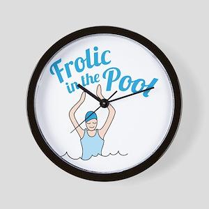 Frolic In Pool Wall Clock