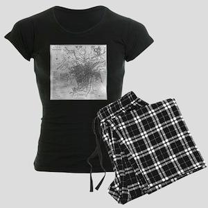 Vintage Map of Sheffield Eng Women's Dark Pajamas