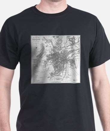 Vintage Map of Sheffield England (1823) T-Shirt