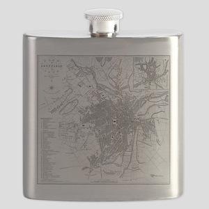 Vintage Map of Sheffield England (1823) Flask