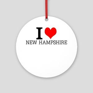I Love New Hampshire Round Ornament