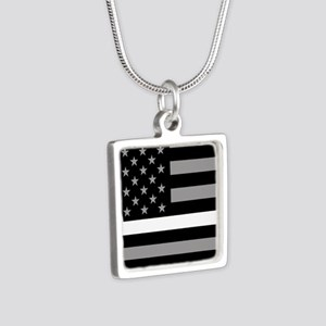 EMS: Black Flag & Thin Whi Silver Square Necklace